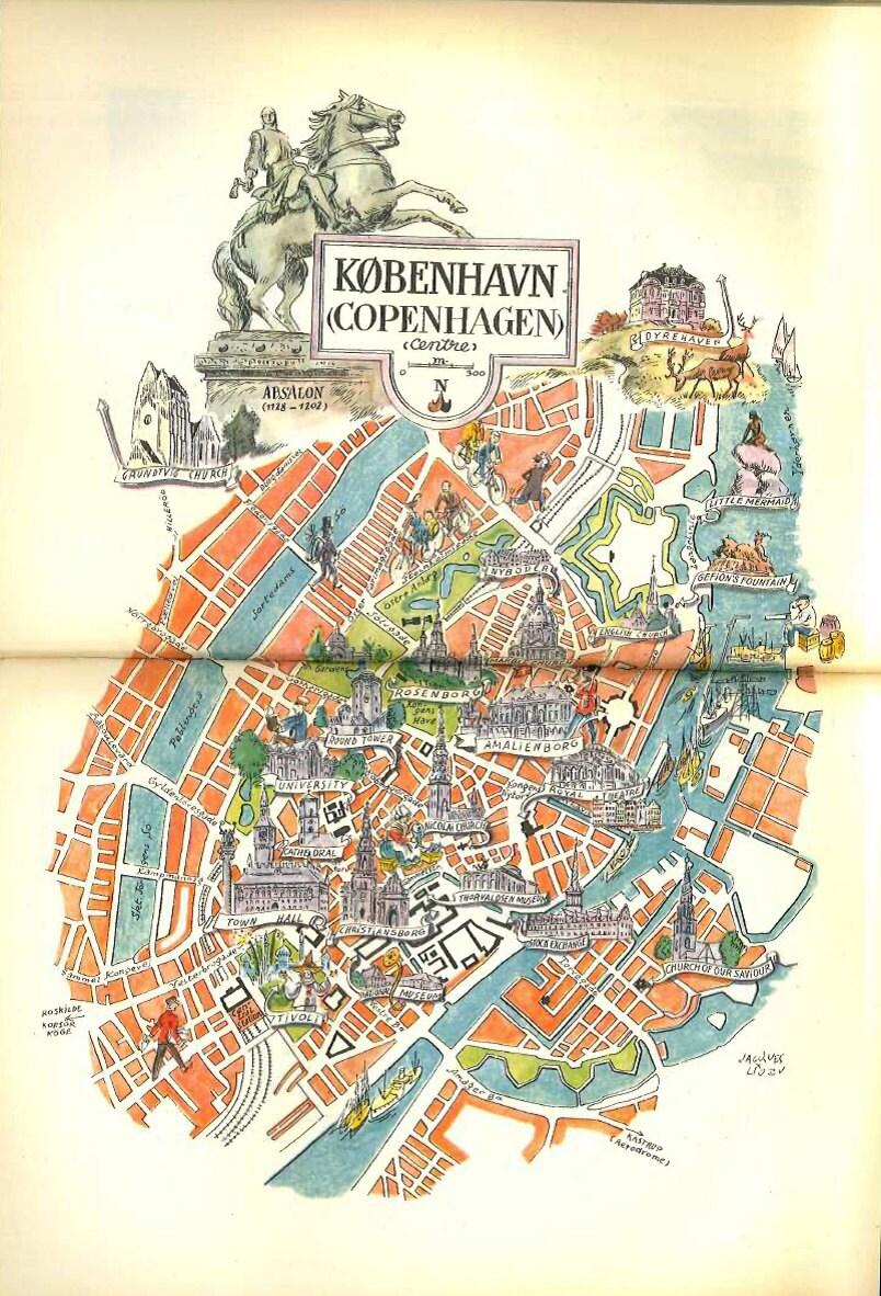 Copenhagen Map Art Vintage Map Print City Map of