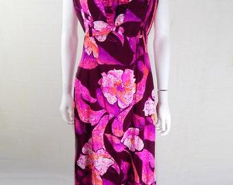 Original Vintage 1970s Hawaiian Floral Maxi Dress UK Size 12/14