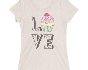Ladies' short sleeve t-shirt, I Love Cupcakes Funny Tshirt for Woman