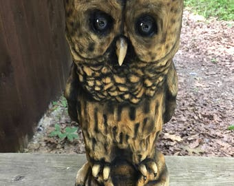 Owl, Chainsaw Carving, Wood Carving, Hand Carved Wood Art, by Josh Carte, Perfect Wood Gift, Anniversary Wood Gift, Birthday Gift, Woodwork