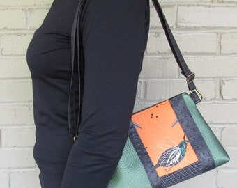 Small Vegan Leather Crossbody Bag - Charley Harper Orange Bird Crossbody Bag - Green Vegan Leather Bag - pearthreads.com