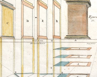 Rare Perspective Engraving  Antique Architectural Print c. 1708 12 1/2 x 7 3/4 inches