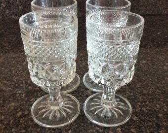 Vintage Cut Glass Water Goblets Set of 4
