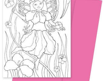 A5 Colouring Card- Petal Fairy