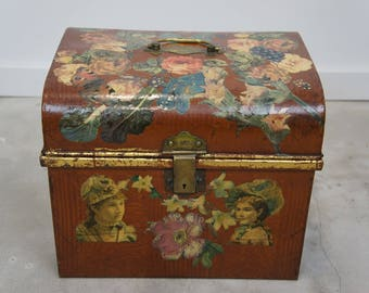 Vintage French Decoupage Tin Chest