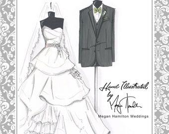 GIFT CARD for (1) Custom Bride & Groom Hand-Drwan Illustration