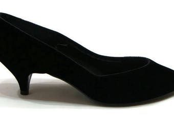 Vintage Black Velvet Heels Vintage Black Pumps Vintage Pumps Heels Pointed Toe Pumps Classic Black Pumps Vintage Black Shoes