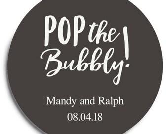 Set of 100 Round Wedding Coasters - Pop the Bubbly - Custom Coasters - Weddings - Wedding - Wedding Reception - Wedding Coasters