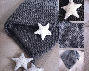 Sparkling charcoal wool with white and Silver Star blanket