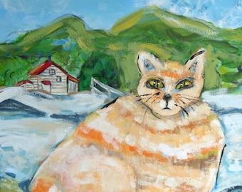 painting orange cat lake mountains orange cat big fat cat blue green orange 16 by 20 inches