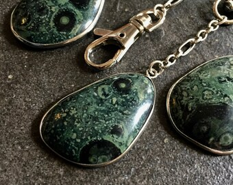 Mens Keychain,Gift for Men,Gift for Husband,Boyfriend Keychain,Men's Keychain,Fossil Keychain,Crocodile Jasper,Japser Keychain,Dark Green