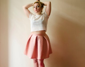 Pastel Pink Skirt, Faux Quilted Leather Skater Mini Skirt, Full Puffy Party Skirt, Plus sizes, Also Available in Light Pink and Black
