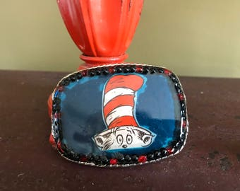 Cat in the Hat buckle,Whimsical buckle, Buckles, Handmade Buckle, Unique Buckle, Christmas gift, Gift for her, One of a kind buckle
