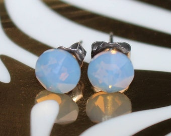 Air Blue Opal Swarovski Crystal Stud Earrings on Titanium posts for those with sensitive ears! 7.2mm in diameter