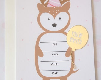 Party Bear Invitation (Invite and Thank you Card)