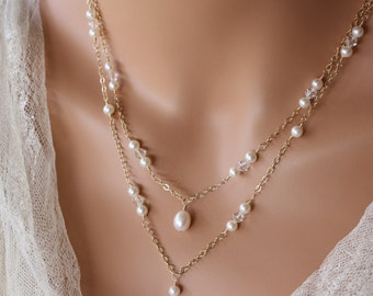 BRIDAL BACKDROP NECKLACE Double Stranded Gold or Rose Gold Chain Design with Pearl and Crystal Accents, Bridal Necklace, Wedding Necklace