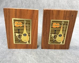 60's Mid Century Modern Bookends Jazz Musical Instruments - Wood and Metal