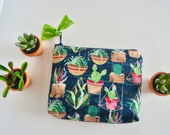 Cosmetic Pouch - Cactus Pouch - Make up Bag - Blue Zipper Pouch - Modern Zipper Pouch - Toiletry Bag - Bridesmaid Pouch - Cactus Lover