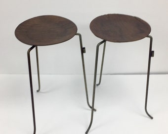 Pair of mid century modern plywood and brass stacking tables designed by Tony Paul