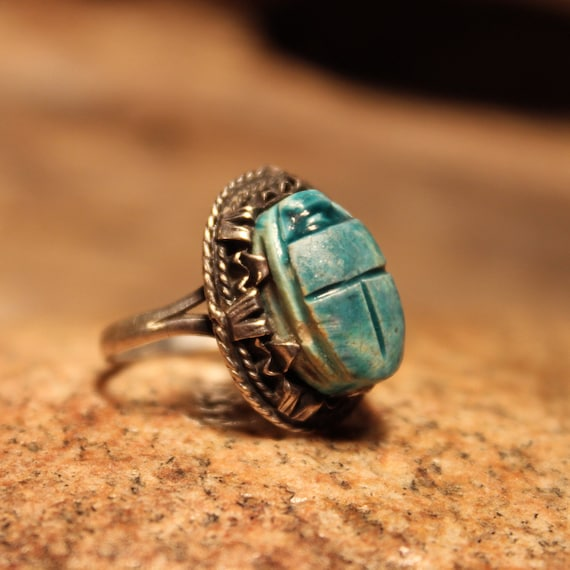 Vintage Egyptian Scarab Ring Sterling Silver Scarab Ring 4 Grams Size 7 Vintage Egyptian Faience Ring Sterling Silver Ring Vintage Ring