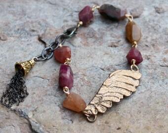 TOURMALINE bracelet, WING bracelet, angel bracelet, mixed metals, silver and gold, REDUCED