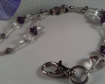Beaded ID Necklace; Beaded Badge Holder; Beaded Lanyard; purple sale