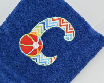 Personalized, Embroidered Bath Towel - Beach Ball Letter