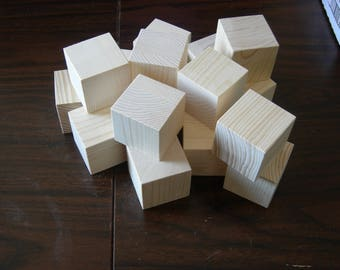 Set of 15 Medium Size Cubes - Handmade Sanded and Ready to Finish
