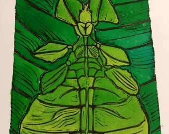 Hand Coloured Javen Leaf Insect Lino Print