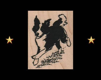 BORDER COLLIE Rubber Stamp, Wood Mounted Stamp, Border Collie Stamp, Dog Rubber Stamp, Border Collie Gifts, Border Collie Stuff, Sheep Dog