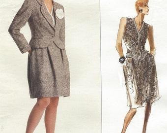1980s Bill Blass Womens Above Hip Jacket, A Line Skirt & Vest Vogue Sewing Pattern 2235 Size 14 Bust 36 UnCut Vintage American Designer
