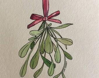 Original Watercolor Painting Hanging Mistletoe