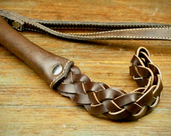 Mini Leather Slapper ''Morgan'' · Exclusive BDSM Design · Long Braided Leather Slapper · Cowhide · Hand-Made  ·  Luxury Quality