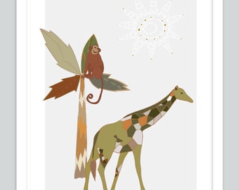 Giraffe Safary Art | Zoo Art | Monkey Art Print | Baby Boy Gift