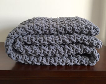Chunky Crochet Blanket in Dark Grey