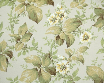 1950s Vintage Wallpaper by the Yard - Flroal Botanical with Yellow Flowers and Green Leaves
