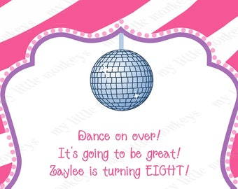 10 Dance Disco Birthday Party Invitations with Envelopes.  Free Return Address Labels