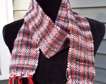 Black and Red scarf, lightweight cotton scarf, handwoven scarf, weaving, woven accessories for men, handmade gift, mens scarf, gifts for him