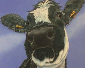 """british blue cow painting """"Delilah"""""""