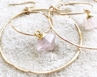 Rose Quartz Double Hoops - Gold Filled