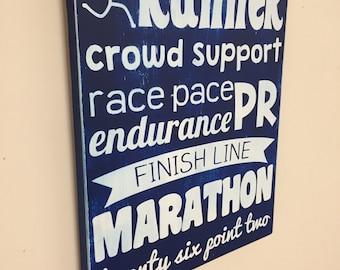 Marathon Word Art Running PR Wooden Sign Subway Art