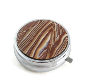 Pill storage tin brown stripes polymer clay marbled small medication box