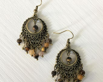 Gemstone Earrings, Bronze, Gemstone Jewellery, Ethnic, Bohemian, Boho, Tribal, Gypsy earrings