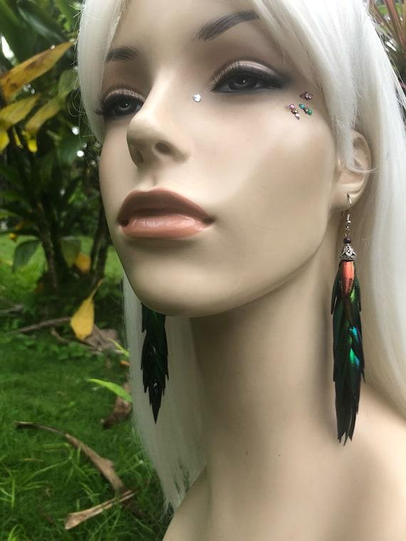 Ready to ship - Rainbow Elytra Jewel Beetle Wing Earrings