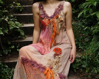 Shabby chic romantic hand dyed dress Bohemian hand beaded dress Altered couture dress Unique Fairy dress Tatered couture cotton dress