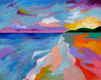 The Close of a Beautiful Day in St. Croix, 22x28, abstract seascape large ocean painting sunset art abstract beach art ocean beach artwork