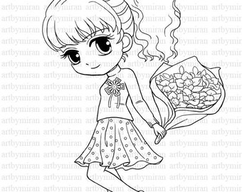 Digi Stamp-Isabel's Bouquet, Pretty Girl Coloring page, Big eyed girl Digital Stamp, Art by Mi Ran Jung