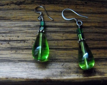 Green w/ blue teardrop earrings
