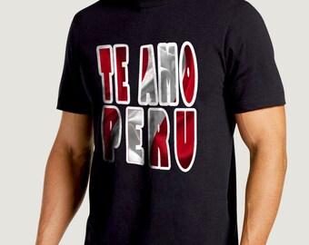 camiseta Te amo peru, Bandera en el fondo como back ground, peruvian design t shirt