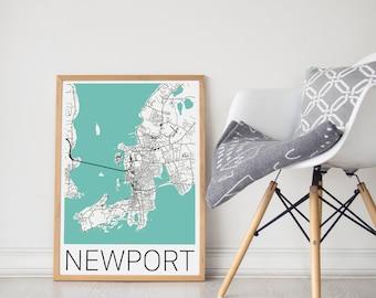Newport Map / Newport Poster / Newport Rhode Island Poster / Newport RI/Newport Poster/ Newport RI Map/ Newport RI Art